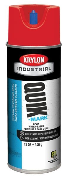 16 Oz Can, 20 Deg F Flash Point, 10 Min Touch, APWA Brilliant Red, Water Based, QUIK-MARK™ Inverted Tip Marking Paint