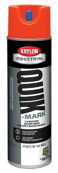 20 Oz Can, 20 Deg F Flash Point, 3 Min Touch, Fluorescent Safety Red, Solvent Based, QUIK-MARK™ Inverted Tip Marking Paint