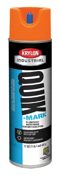 20 Oz Can, 20 Deg F Flash Point, 10 Min Touch, Fluorescent Orange, Water Based, QUIK-MARK™ Inverted Tip Marking Paint
