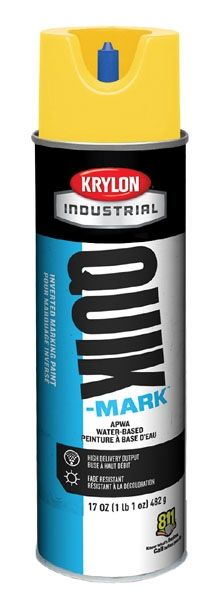 20 Oz Can, 20 Deg F Flash Point, 10 Min Touch, APWA Brilliant White, Water Based, QUIK-MARK™ Inverted Tip Marking Paint