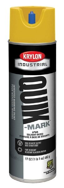 20 Oz Can, 20 Deg F Flash Point, 3 Min Touch, APWA Safety Yellow, Solvent Based, QUIK-MARK™ Inverted Tip Marking Paint