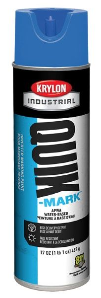 20 Oz Can, 20 Deg F Flash Point, 10 Min Touch, APWA Blue, Water Based, QUIK-MARK™ Inverted Tip Marking Paint