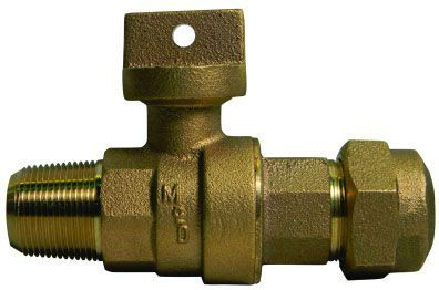 """1"""" Ball Corporation Stop - AWWA/CC MPT x Q CTS Compression, 300 PSI, Brass, Lead-Free, Non-Removable Tee Head"""
