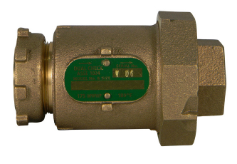 "1"", Yoke Star Nut x Union FPT, 175 PSI, Lead-Free, Brass, In-Line Yoke Style, Dual Check, Backflow Preventer"