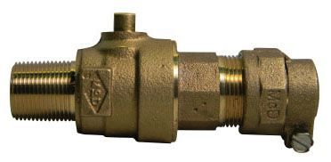 "1"" Ball Corporation Stop - MIP x -44 PVC Compression, 300 PSI, Brass, Lead-Free"