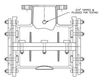 """8"""" Pipe, 4"""" Mechanical Joint Outlet, 9 to 9.35"""" OD, 250 PSI, Lead-Free, SBR Gasket, Ductile Iron Body/Flange, Tapping Sleeve"""