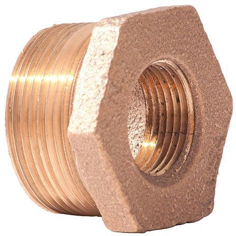 """4"""" x 3"""", MPT x FPT, Class 125, Lead-Free, Red Brass, Import, Hex Head, Reducing, Bushing"""