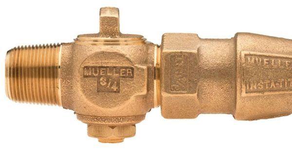 "3/4"" Ground Key Corporation Stop - CC x IPS INSTA-TITE, 100 PSI, Brass, Lead-Free, Straight"