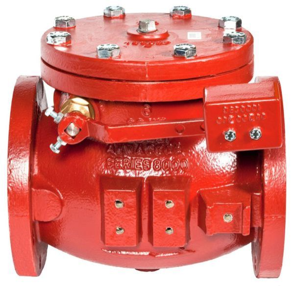 "6"", ANSI Class 125 Flanged x ANSI Class 125 Flanged, 200 PSI, Lead-Free, Epoxy Coated Cast Iron, Bolted Cap, Lever and Weight, Swing, Check Valve with Bronze Disc Facing"