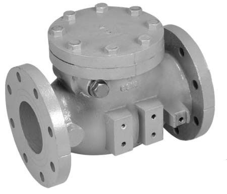 """4"""", ANSI Class 125 Flanged x ANSI Class 125 Flanged, 200 PSI, Lead-Free, Epoxy Coated Cast Iron, Bolted Cap, Gravity Operated, Swing, Check Valve with Rubber Disc Facing"""