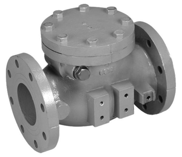 "6"", ANSI Class 125 Flanged x ANSI Class 125 Flanged, 200 PSI, Lead-Free, Epoxy Coated Cast Iron, Bolted Cap, Lever and Spring, Swing, Check Valve with Rubber Disc Facing"