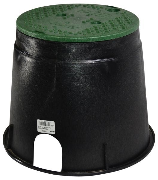 """10"""" Round, Black Injection Molded Structural Foam Polyolefin Body, Green Plastic Water Logo Round Overlapping Cover, Tapered, Round, Valve Box and Cover"""