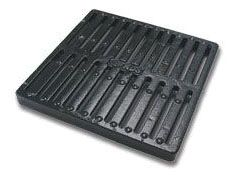 "12"" x 12"", 113.8 GPM, Black, Heavy Duty Ductile Iron, Square, Flat, 2-Open Slide, Grate for Catch Basin"