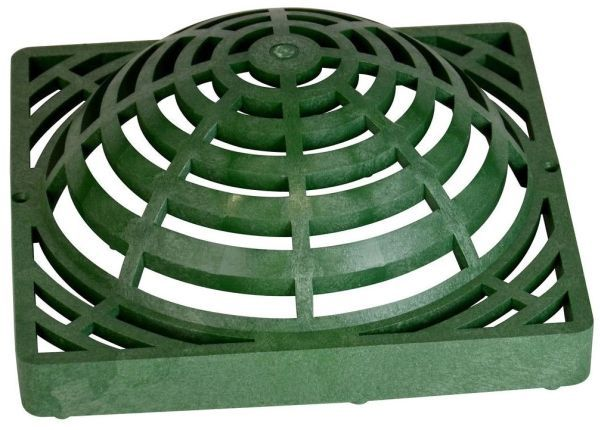 "12"" x 12"", 154.79 GPM, Green, Structural Foam Polyolefin, Square, Dome Atrium, Grate with UV Inhibitor for Catch Basin"