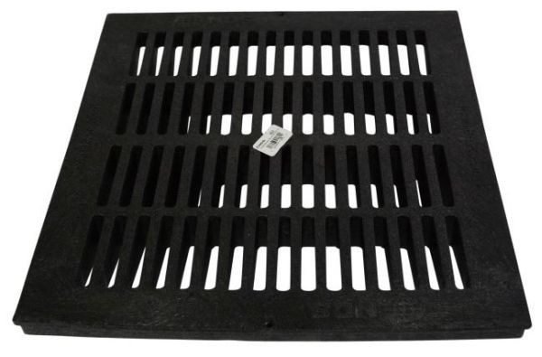 "18"" x 18"", 264.03 GPM, Black, Structural Foam Polyolefin, Square, Flat, Grate with UV Inhibitor for Catch Basin"