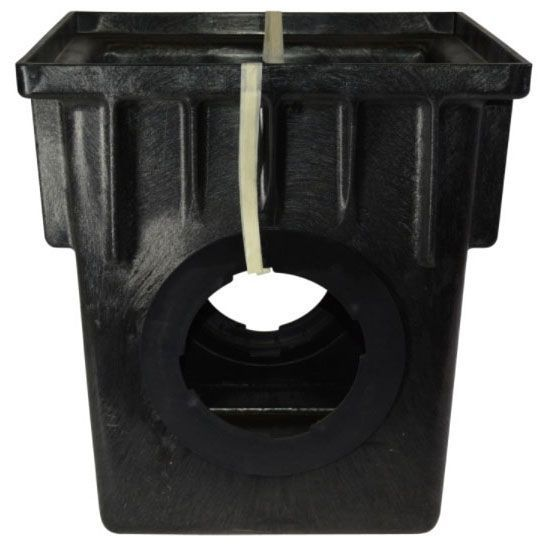"18"" x 18"", Black, Structural Foam Polyolefin, 2-Opening, Tapered, 1-Piece Catch Basin"