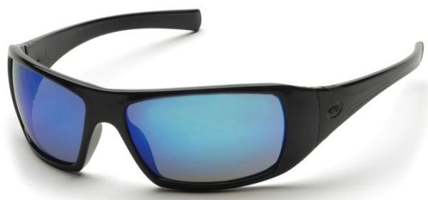 Ice Blue Mirror Polycarbonate Lens, Black Frame, Co-Injected Temple, Scratch Resistant, Side Shield, Safety Glasses