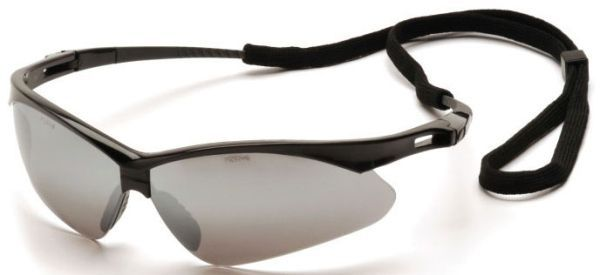 Silver Mirror Polycarbonate Lens, Black Nylon Frame, Ventilated Straight Back Flexible Temple, Scratch Resistant, Safety Glasses