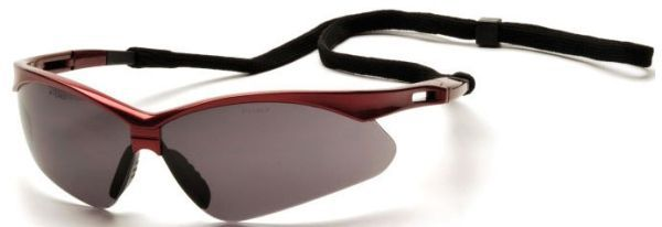 Grey Polycarbonate Lens, Red Nylon Frame, Ventilated Straight Back Flexible Temple, Scratch Resistant, Safety Glasses