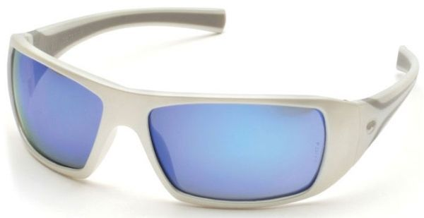 Ice Blue Mirror Polycarbonate Lens, White Frame, Co-Injected Temple, Scratch Resistant, Side Shield, Safety Glasses