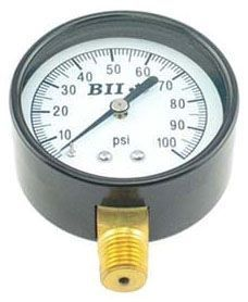 "0 to 300 PSI, 2-1/2"" Aluminum Dial, 1/4"" MPT Lower, Lead-Free, Stainless Steel, Pressure Gauge"
