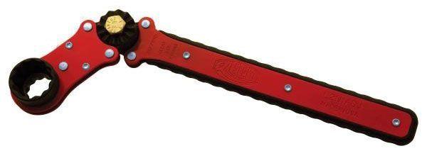 "1-1/4"" and 1-1/16"", 17"" Stamped Steel Handle, 200 Lb-Foot Torque, Dual Socket, Adjustable, Reversible, Ratchet Wrench"