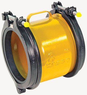 "8"" x 8"", 8.6 to 9.75"" Pipe OD, 305 PSI, Lead-Free, Fusion Bonded Epoxy Coated, Ductile Iron, 2-Bolt, Extended Range, Straight, Coupling"