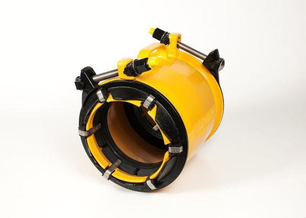 """10"""" x 10"""", 10.75 to 11.2"""" Pipe OD, 350 PSI, Lead-Free, Fusion Bonded Epoxy Coated, Ductile Iron, 1-Piece, Extended Range, Straight, Restraint Coupling"""