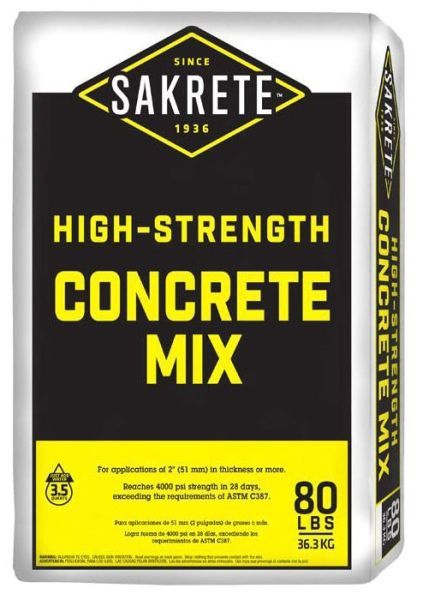 80 Lb Bag, Grey, High Strength, Concrete Mix
