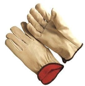 X-Large, Natural Driver, Blue Hem, B Grade Leather, Safety Cuff, Straight Thumb, Gloves