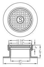 """16"""" Diameter Cover, 6"""" Frame, Grey Cast Iron, Sewer Logo, Meter Box and Cover"""