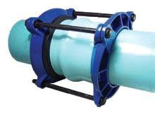"""16"""" Pipe, 17.4 to 17.8"""" OD, 150 PSI, Lead-Free, Flexi-Coat Fusion Bonded Epoxy, Ductile Iron, Buna-N Gasket, 2-Piece, Short Bell Joint Leak, Pipe Repair Clamp with Low Alloy Steel Bolt and Nut"""