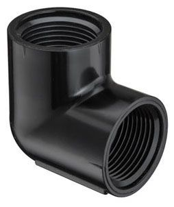 "1"" x 1"", FPT x FPT, 450 PSI, Schedule 40, Injection Molded, Black, PVC, 90D, Straight, Elbow"