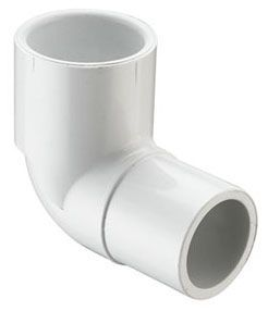 "4"" x 4"", Spigot x Socket, 220 PSI, Schedule 40, Injection Molded, White, PVC, 90D, Straight, Street, Elbow"