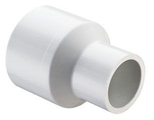 """2"""" x 1-1/2"""", Socket x Socket, 280 PSI, Schedule 40, Injection Molded, White, PVC, Reducing, Coupling"""