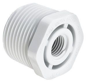 """2"""" x 1-1/2"""", MPT x FPT, 280 PSI, Schedule 40, Injection Molded, White, PVC, Reducing, Bushing"""
