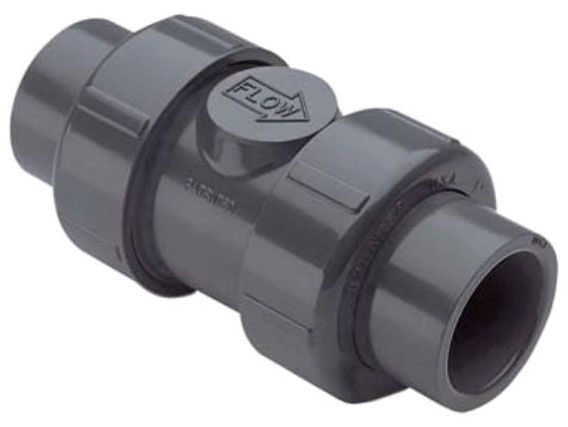 "1-1/4"", Socket/FPT x Socket/FPT, 235 PSI, Schedule 80, Grey Injection Molded PVC, True Union, Ball, Check Valve"