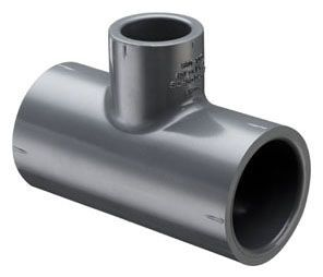 "2"" x 2"" x 1/2"", Socket x Socket x Socket, 400 PSI, Schedule 80, Injection Molded, Grey, PVC, Reducing, Tee"