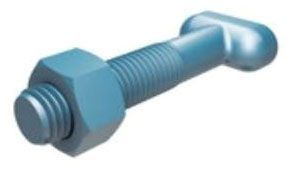 "3/4"" x 4"", Blue Fluoropolymer Coated Low Alloy Steel, Import, Resin Bonded, Thermally Cured, Dry Lubricant, T-Head Bolt with Hexagon Nut for Mechanical Joint Utility Pipe"
