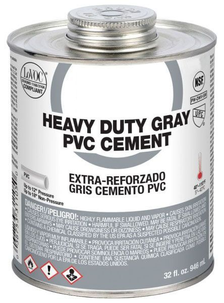 32 Oz Dauber Top Can, 14 to -23 Deg F Flash Point, Grey, Low VOC, Heavy Duty, PVC Solvent Cement