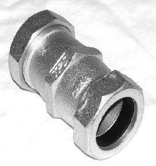 "2"" x 2"", Compression x Compression, 150 PSI, Bright Electro Galvanic Coated, Ductile Iron, Long, Straight, Coupling"