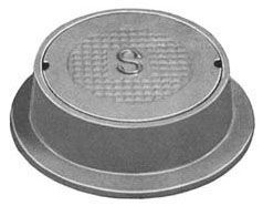 "13-1/2"" x 3-3/4"" Ring, 9-5/8"" x 1-1/2"" Cover, Logo Sewer, Grey, Cast Iron, Heavy Duty, Round, Reversible, Handhole Ring and Cover"