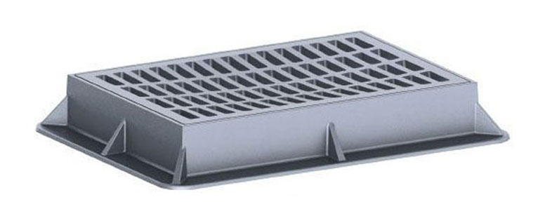 """44"""" x 32"""" x 6-1/4"""" Frame, 36"""" x 24"""" x 2"""" Grate, Grey, Cast Iron, Heavy Duty, Catch Basin Frame and Grate"""