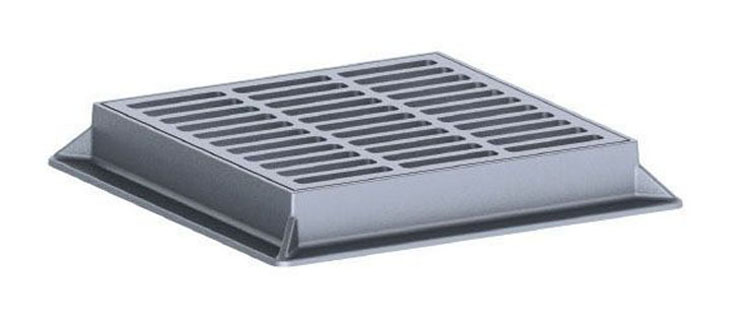 """29-1/4"""" x 29-1/4"""" x 4"""" Frame, 23-3/4"""" x 23-3/4"""" x 1-1/2"""" Grate, Grey, Cast Iron, Heavy Duty, Catch Basin Frame and Grate"""
