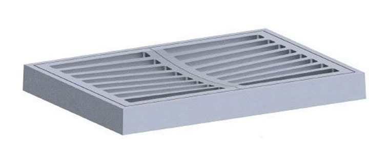 """41-13/16"""" x 29-3/4"""" x 4"""" Frame, 39.25"""" x 27-1/4"""" x 2"""" Grate, Grey, Cast Iron, Light Duty, Angle, Catch Basin Frame and Grate"""