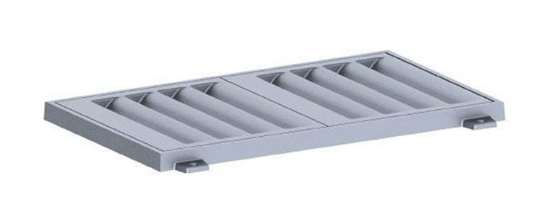 """48-1/4"""" x 28-1/4"""" x 2-1/4"""" Frame, 46"""" x 26-1/4"""" x 1-1/2"""" Grate, Grey, Cast Iron, Light Duty, Catch Basin Frame and Grate"""