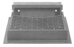 "43-1/8"" x 37-1/16"" x 8"" Frame, 36-1/2"" x 24-3/8"" x 1-3/16"" Grate, Grey, Cast Iron, Heavy Duty, Curb and Gutter Inlet Frame"