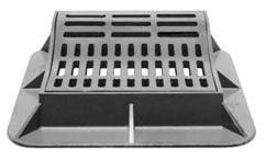 """38"""" x 35-3/4"""" x 10"""" Frame, 26"""" x 23-3/4"""" x 1-1/2"""" Grate, Grey, Cast Iron, Heavy Duty, Curb Inlet Frame and Grate"""