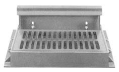 "43"" x 31-3/8"" x 7"" Frame, 35-3/4"" x 23-3/4"" x 1-3/4"" Grate, 36-1/2"" Hood, Grey, Cast Iron, Heavy Duty, Curb and Gutter Inlet Frame"