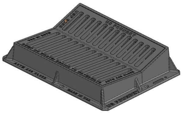 """44-3/4"""" x 33"""" x 8-1/2"""" Frame, 36"""" x 26-1/2"""" x 1-3/4"""" Grate, Grey, Cast Iron, Heavy Duty, Gutter Inlet Frame and Grate"""